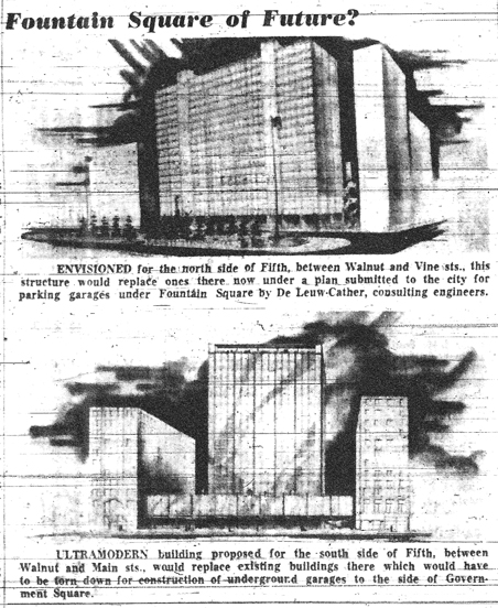 Fountain Square 1956 Proposal - Source: Kentucky Times-Star